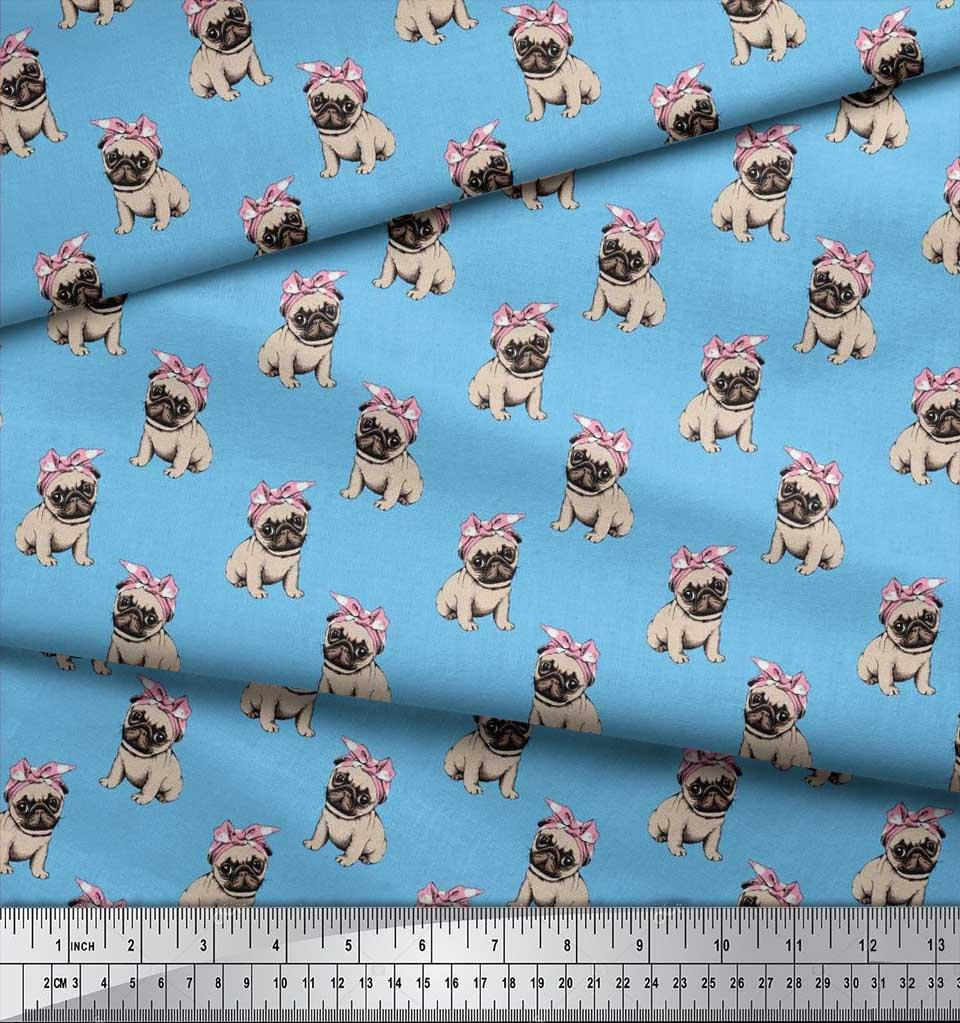 Soimoi-Cotton-Poplin-Fabric-Pug-Dog-Print-Fabric-by-the-metre-42-MXW thumbnail 4
