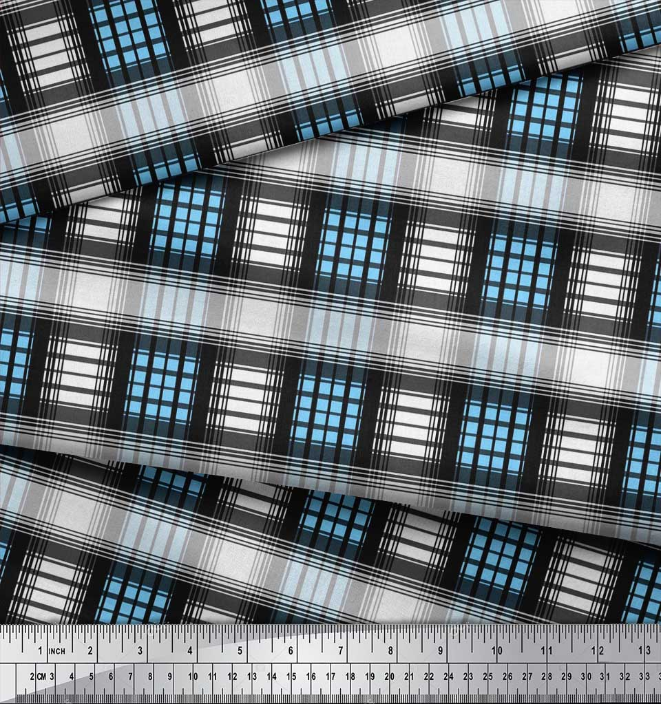 Soimoi-Cotton-Poplin-Fabric-Check-Check-Fabric-Prints-By-metre-42-nIl thumbnail 3