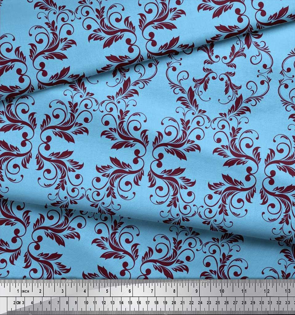 Soimoi-Blue-Cotton-Poplin-Fabric-Quaterfoil-Damask-Print-Fabric-XZB thumbnail 4