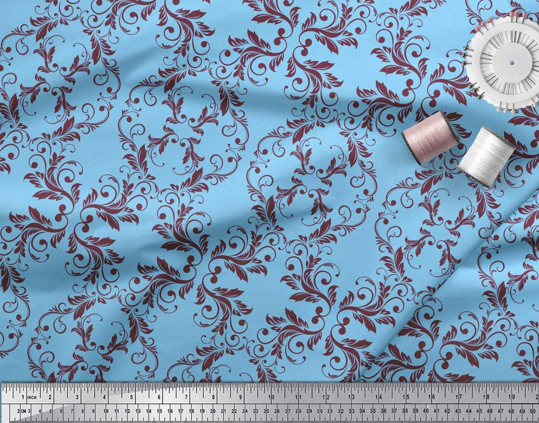 Soimoi-Blue-Cotton-Poplin-Fabric-Quaterfoil-Damask-Print-Fabric-XZB thumbnail 3