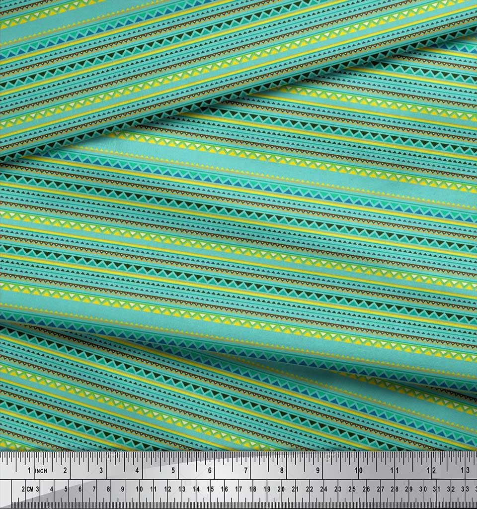 Soimoi-Blue-Cotton-Poplin-Fabric-Stripe-amp-Triangle-Geometric-Print-Mon thumbnail 3