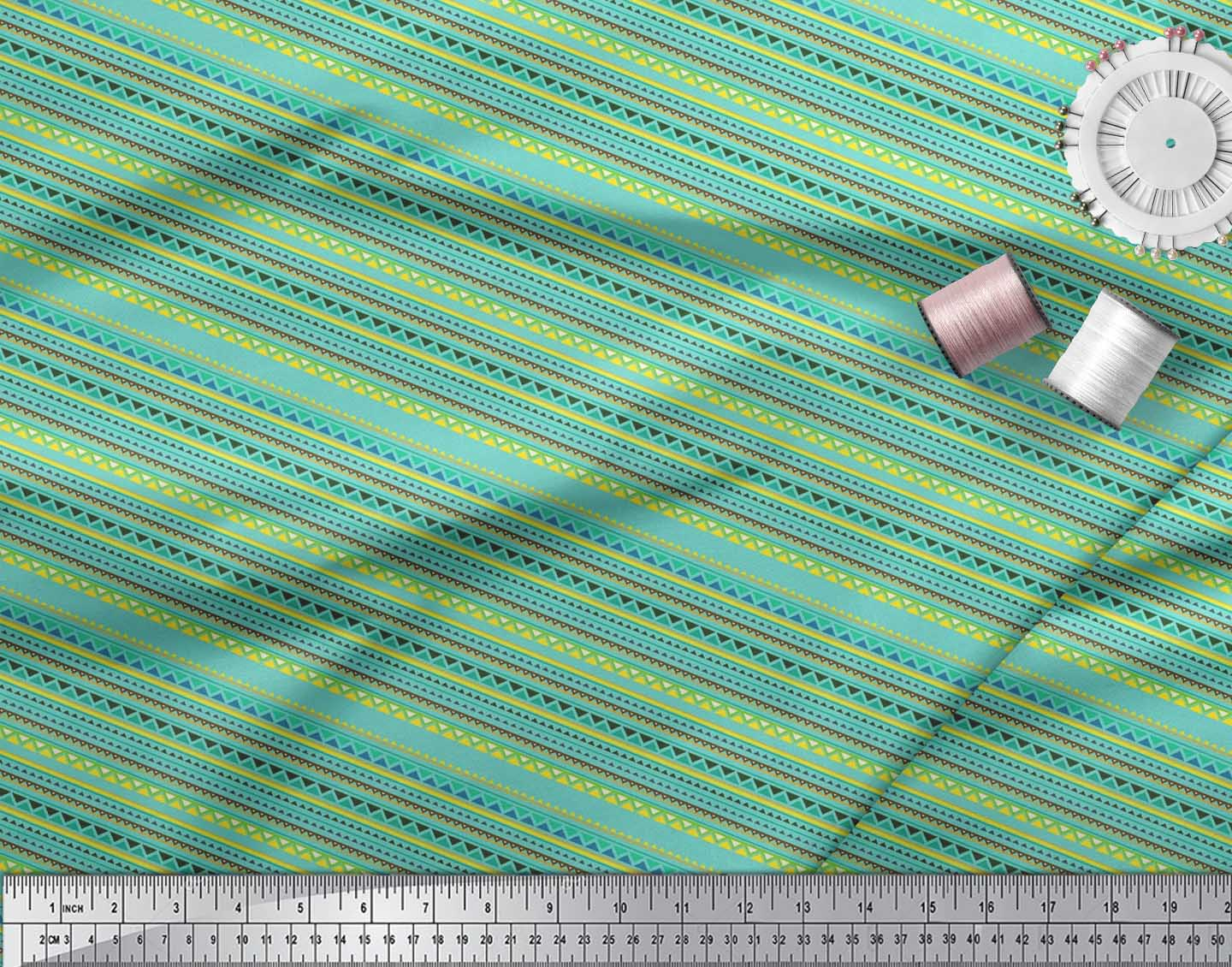 Soimoi-Blue-Cotton-Poplin-Fabric-Stripe-amp-Triangle-Geometric-Print-Mon thumbnail 4