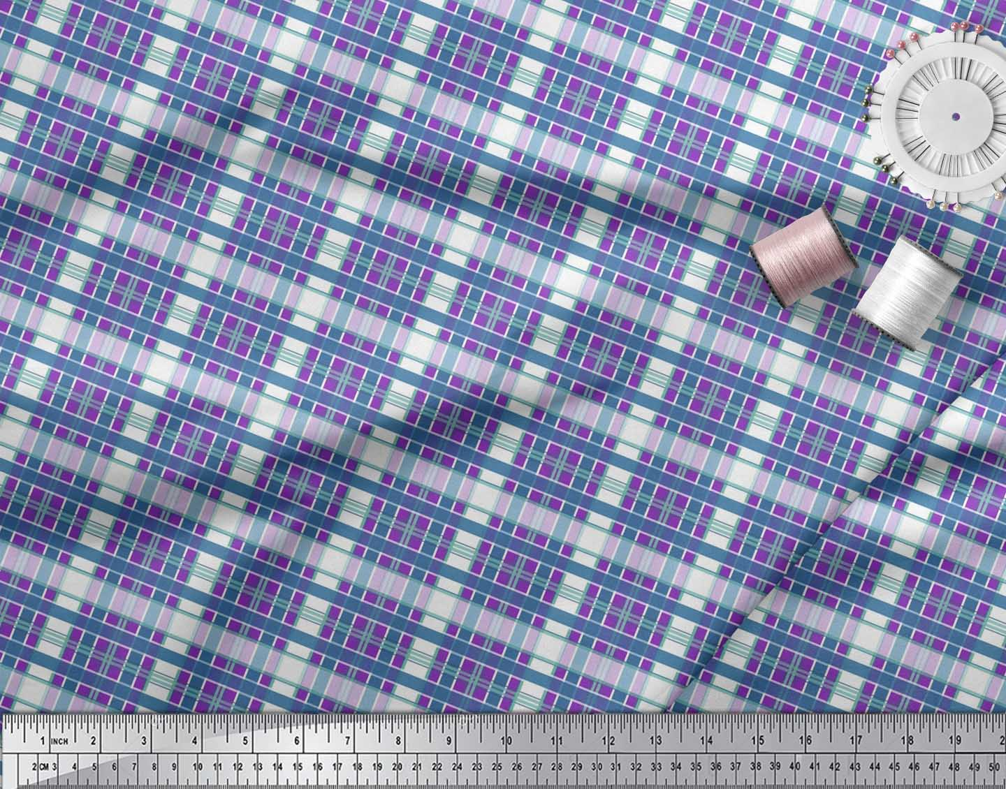 Soimoi-Cotton-Poplin-Fabric-Check-Check-Print-Sewing-Fabric-metre-Tay thumbnail 3