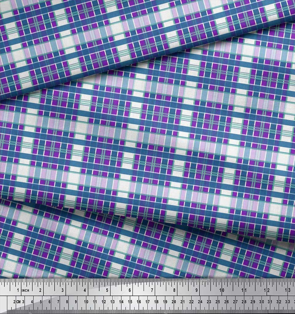 Soimoi-Cotton-Poplin-Fabric-Check-Check-Print-Sewing-Fabric-metre-Tay thumbnail 4
