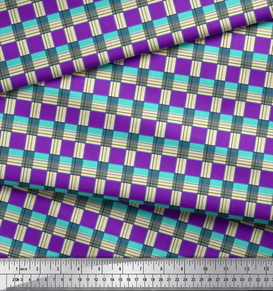 Soimoi-Cotton-Poplin-Fabric-Gingham-Check-Printed-Craft-Fabric-by-gIE thumbnail 4