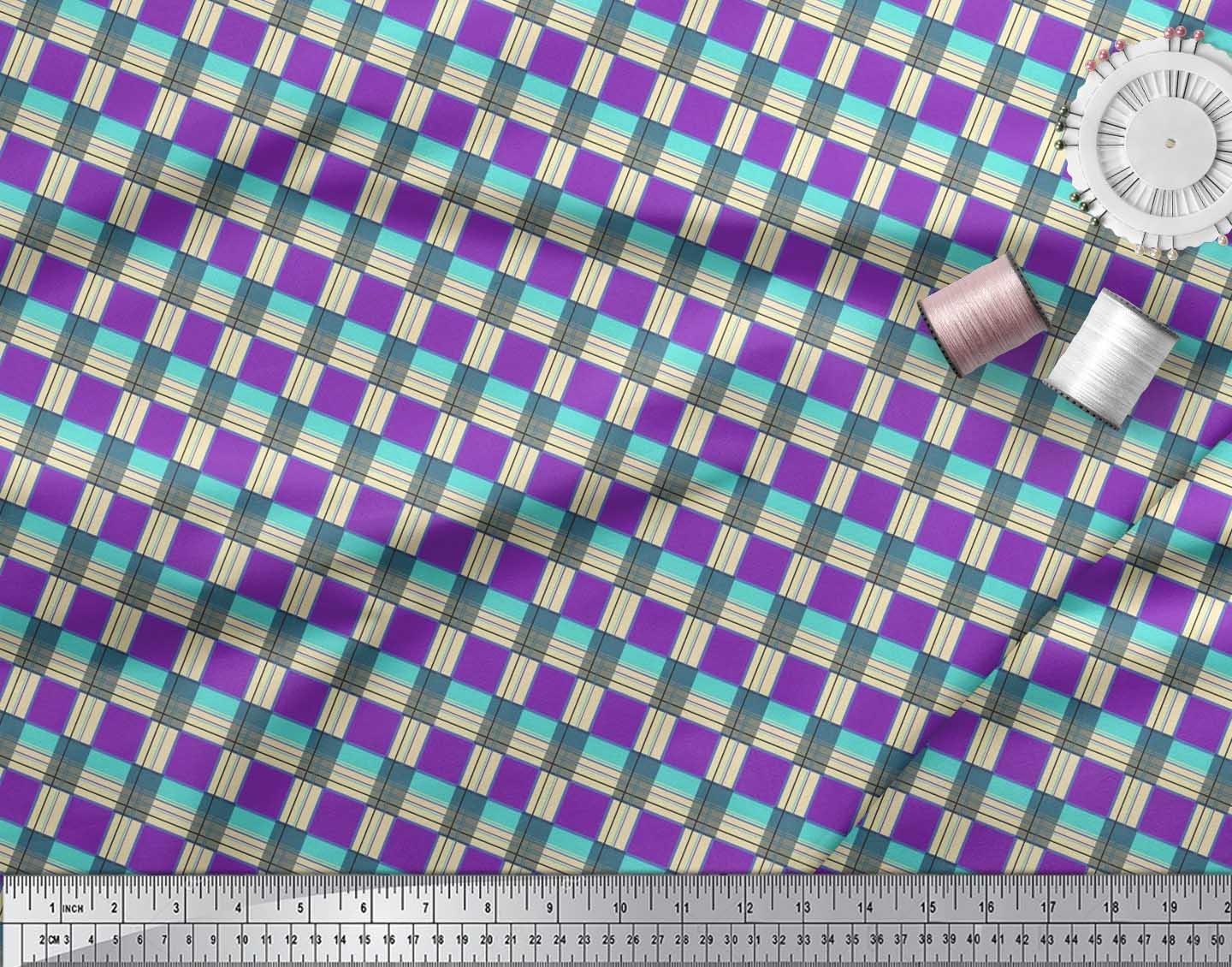 Soimoi-Cotton-Poplin-Fabric-Gingham-Check-Printed-Craft-Fabric-by-gIE thumbnail 3