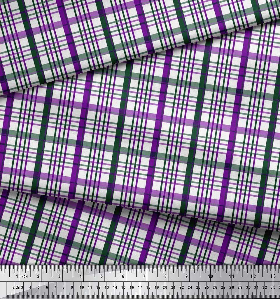 Soimoi-Purple-Cotton-Poplin-Fabric-Plaid-Check-Printed-Fabric-1-fWO thumbnail 3