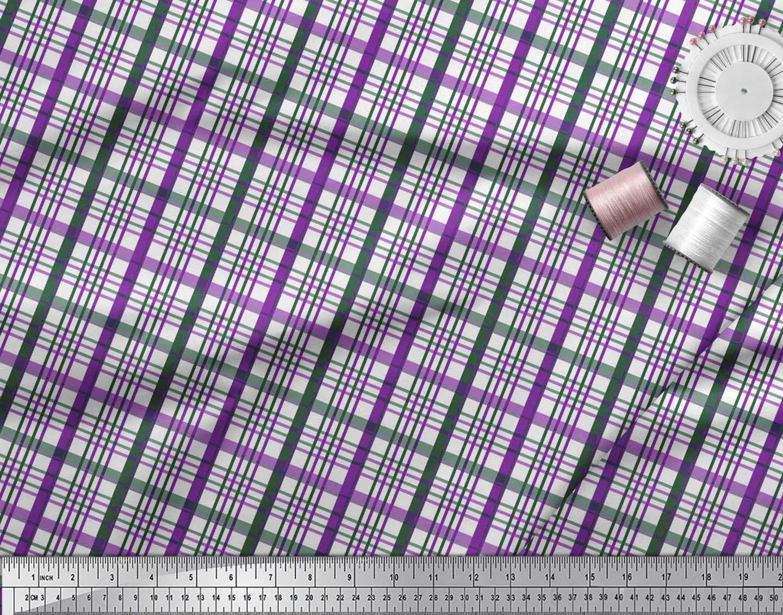 Soimoi-Purple-Cotton-Poplin-Fabric-Plaid-Check-Printed-Fabric-1-fWO thumbnail 4