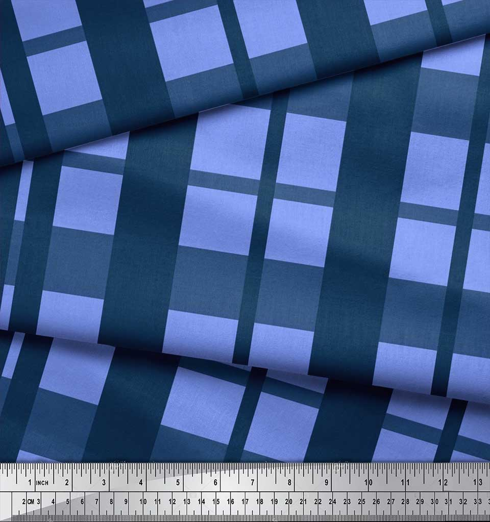 Soimoi-Cotton-Poplin-Fabric-Check-Check-Print-Fabric-by-the-metre-ozH thumbnail 4