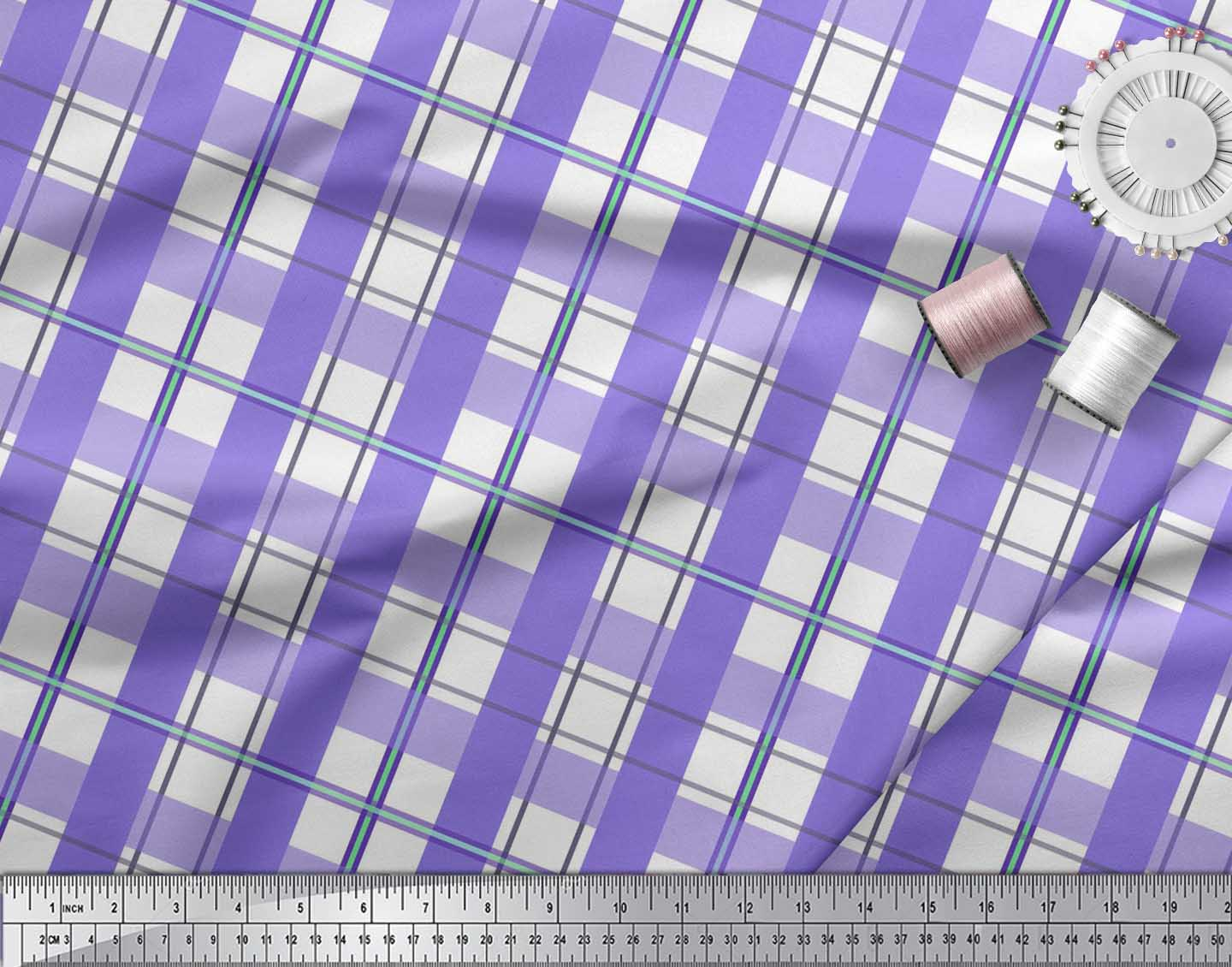 Soimoi-Purple-Cotton-Poplin-Fabric-Gingham-Check-Printed-Fabric-U6Z thumbnail 3