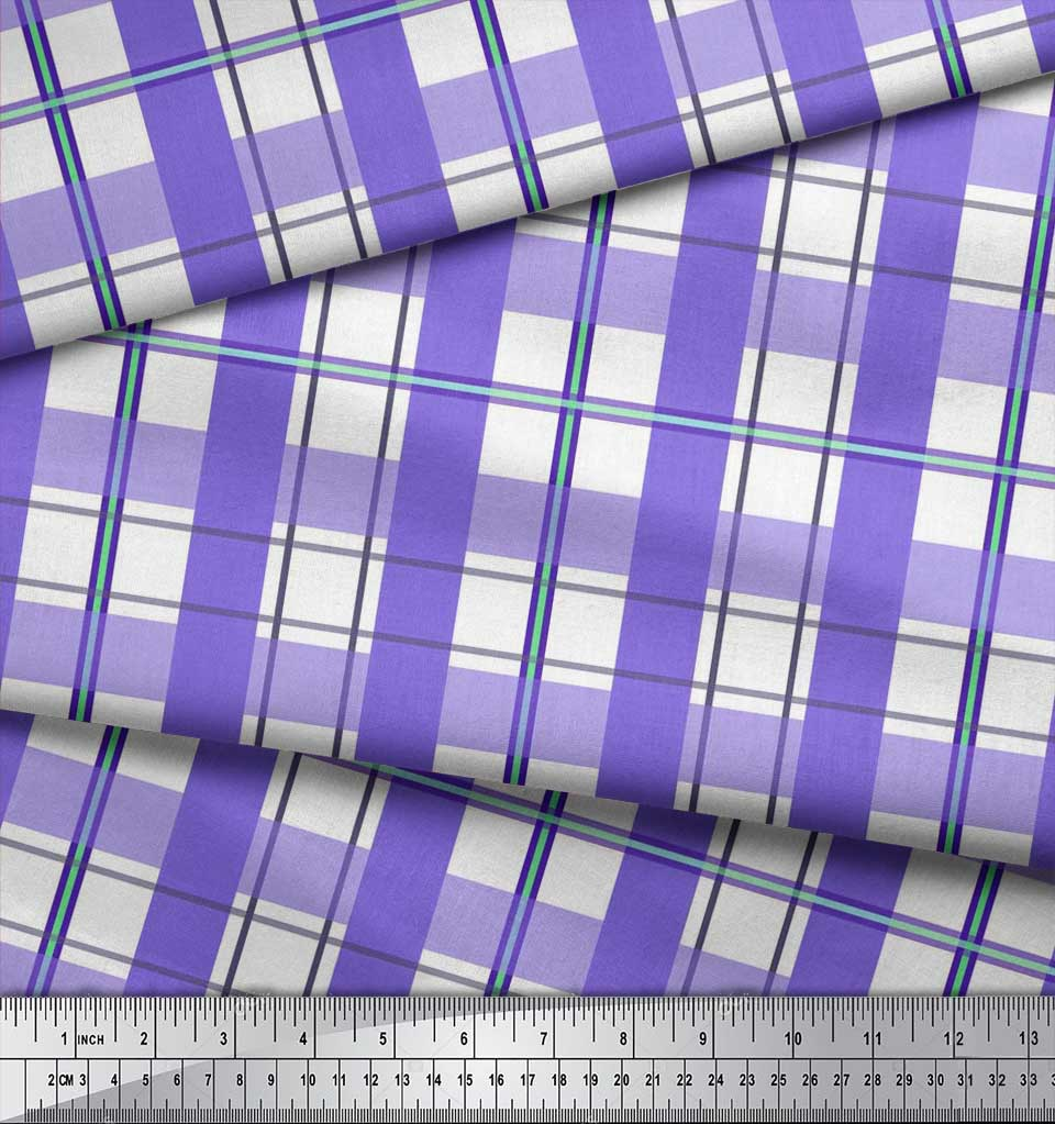 Soimoi-Purple-Cotton-Poplin-Fabric-Gingham-Check-Printed-Fabric-U6Z thumbnail 4