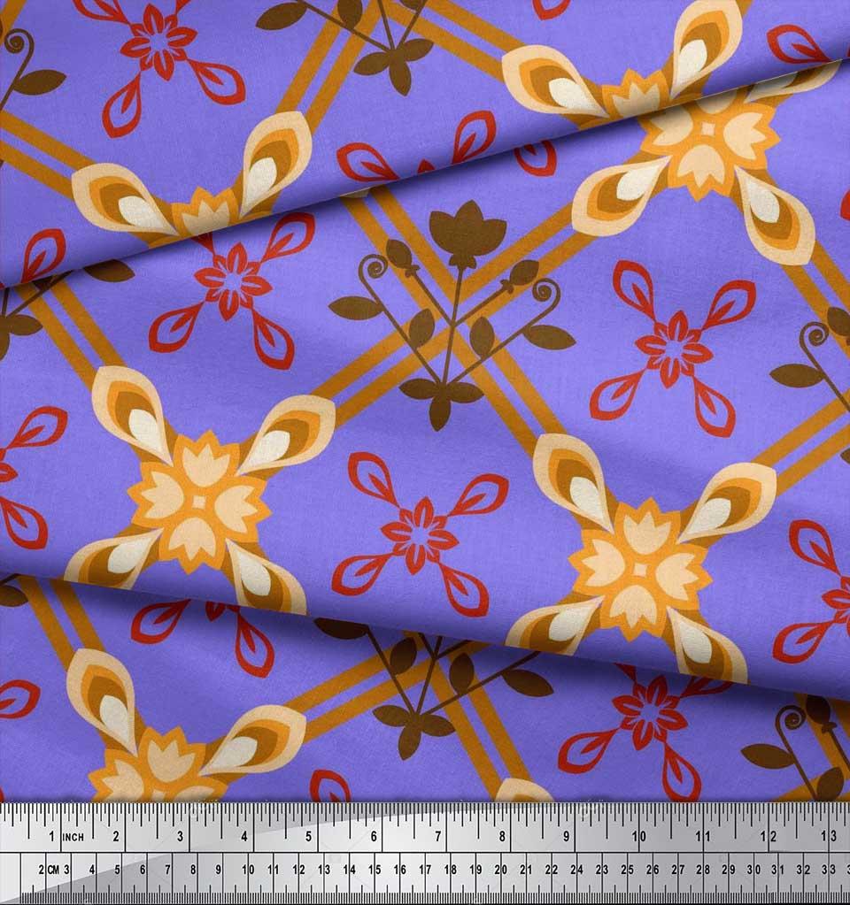Soimoi-Cotton-Poplin-Fabric-Argyle-Check-Decor-Fabric-Printed-metre-L5P thumbnail 3
