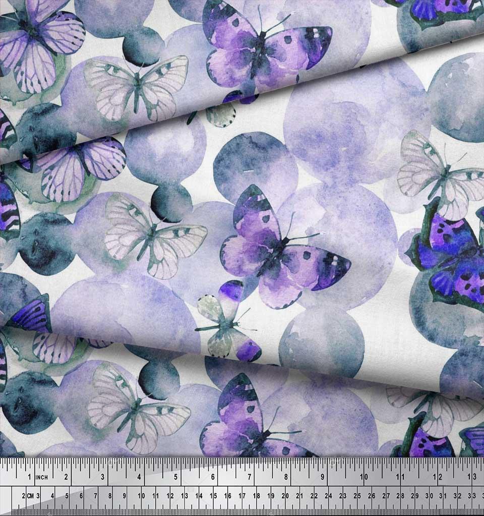 Soimoi-Cotton-Poplin-Fabric-Dot-amp-Butterfly-Print-Fabric-by-the-vVz thumbnail 3