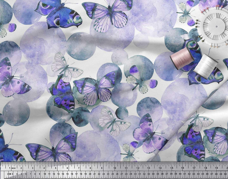 Soimoi-Cotton-Poplin-Fabric-Dot-amp-Butterfly-Print-Fabric-by-the-vVz thumbnail 4
