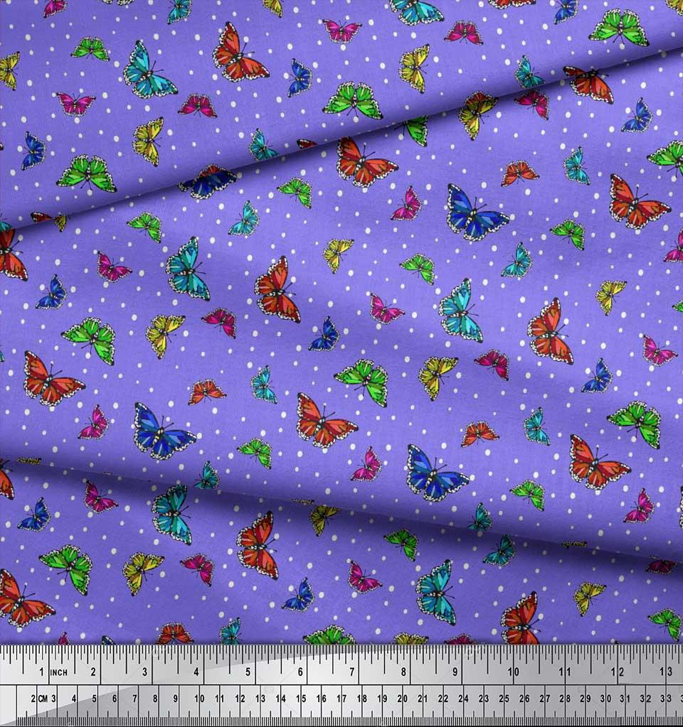 Soimoi-Purple-Cotton-Poplin-Fabric-Dot-amp-Butterfly-Print-Fabric-iXo thumbnail 4