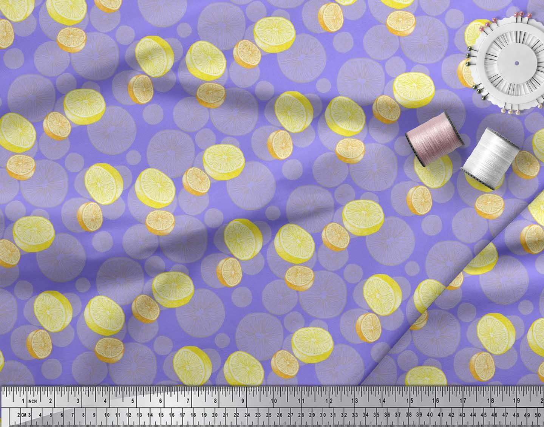 Soimoi-Purple-Cotton-Poplin-Fabric-Lemon-Slice-Vegetable-Decor-Fabric-0cd thumbnail 3