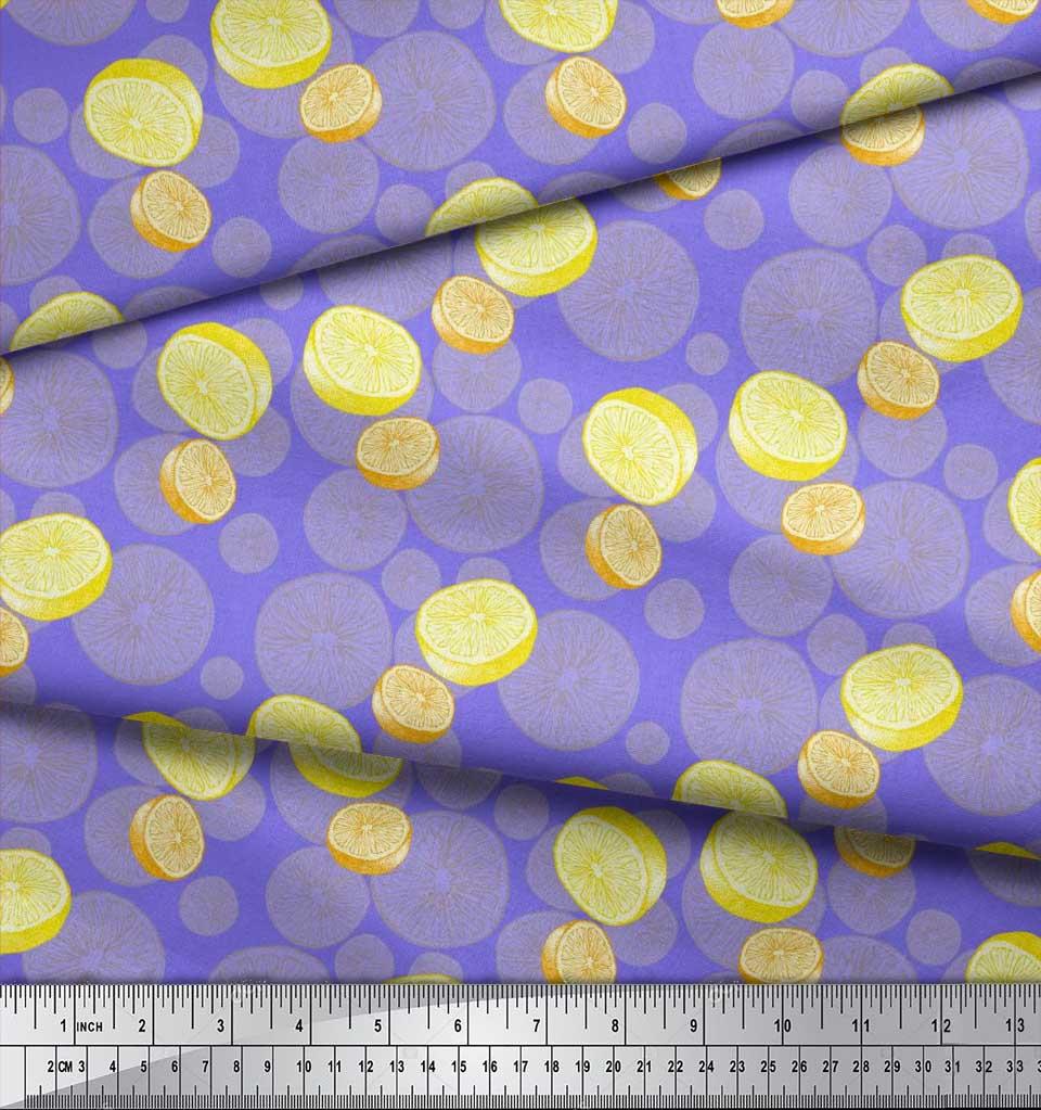 Soimoi-Purple-Cotton-Poplin-Fabric-Lemon-Slice-Vegetable-Decor-Fabric-0cd thumbnail 4
