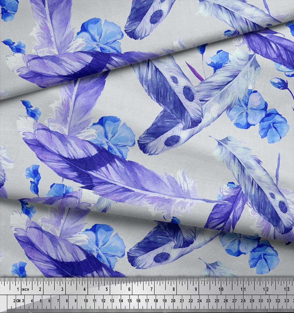 Soimoi-Cotton-Poplin-Fabric-Flowers-amp-Feather-Printed-Craft-Fabric-Kxl thumbnail 3