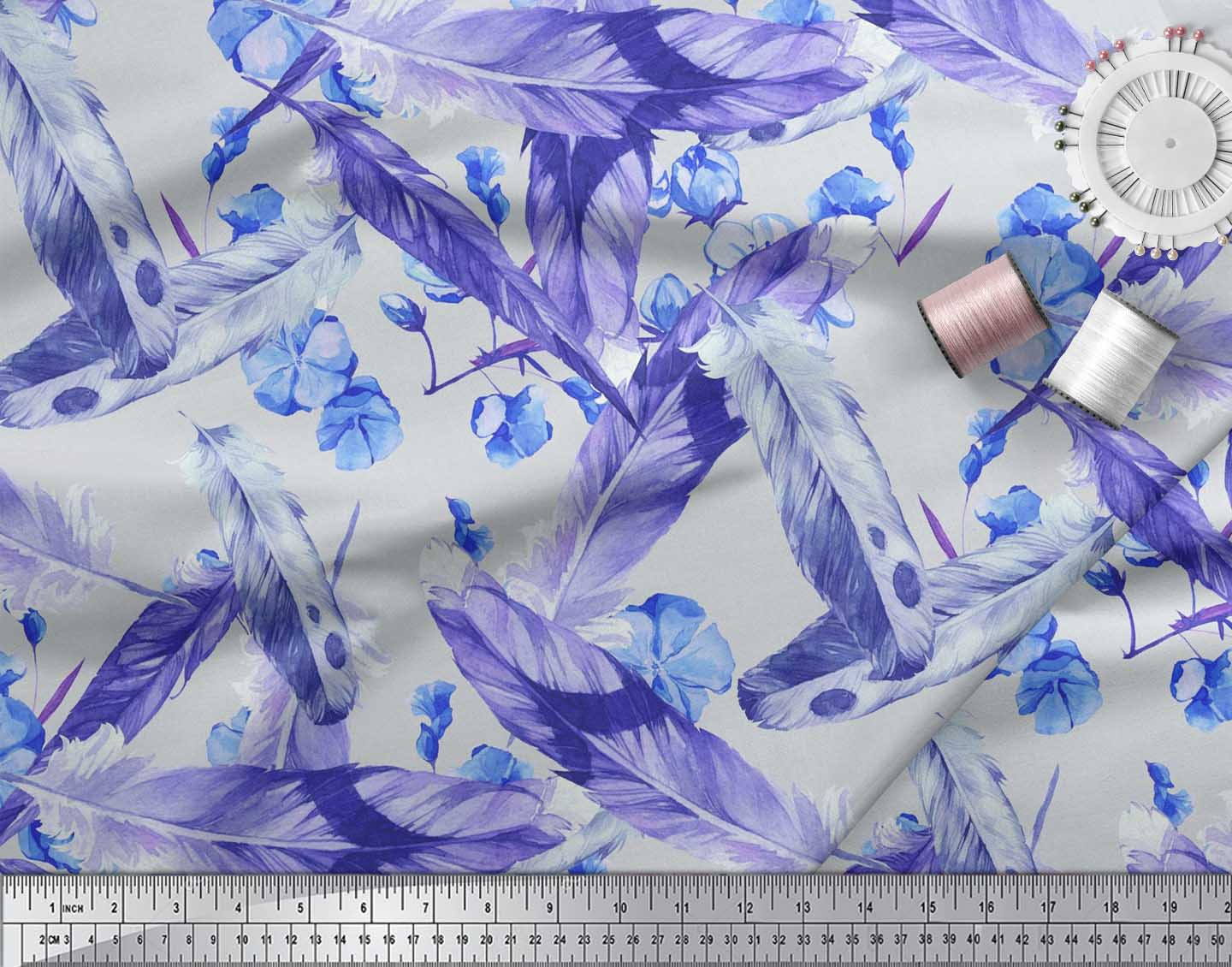 Soimoi-Cotton-Poplin-Fabric-Flowers-amp-Feather-Printed-Craft-Fabric-Kxl thumbnail 4