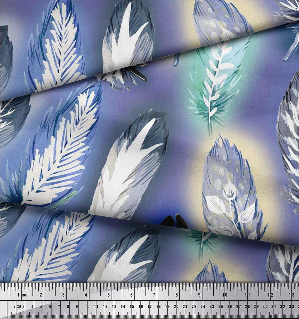 Soimoi-Cotton-Poplin-Fabric-Leaves-amp-Feather-Print-Fabric-by-metre-ijg thumbnail 3