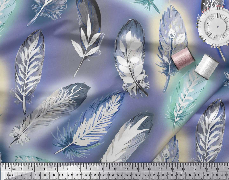 Soimoi-Cotton-Poplin-Fabric-Leaves-amp-Feather-Print-Fabric-by-metre-ijg thumbnail 4
