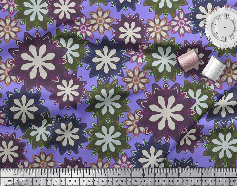 Soimoi-Purple-Cotton-Poplin-Fabric-Artistic-Floral-Print-Fabric-oX5 thumbnail 3