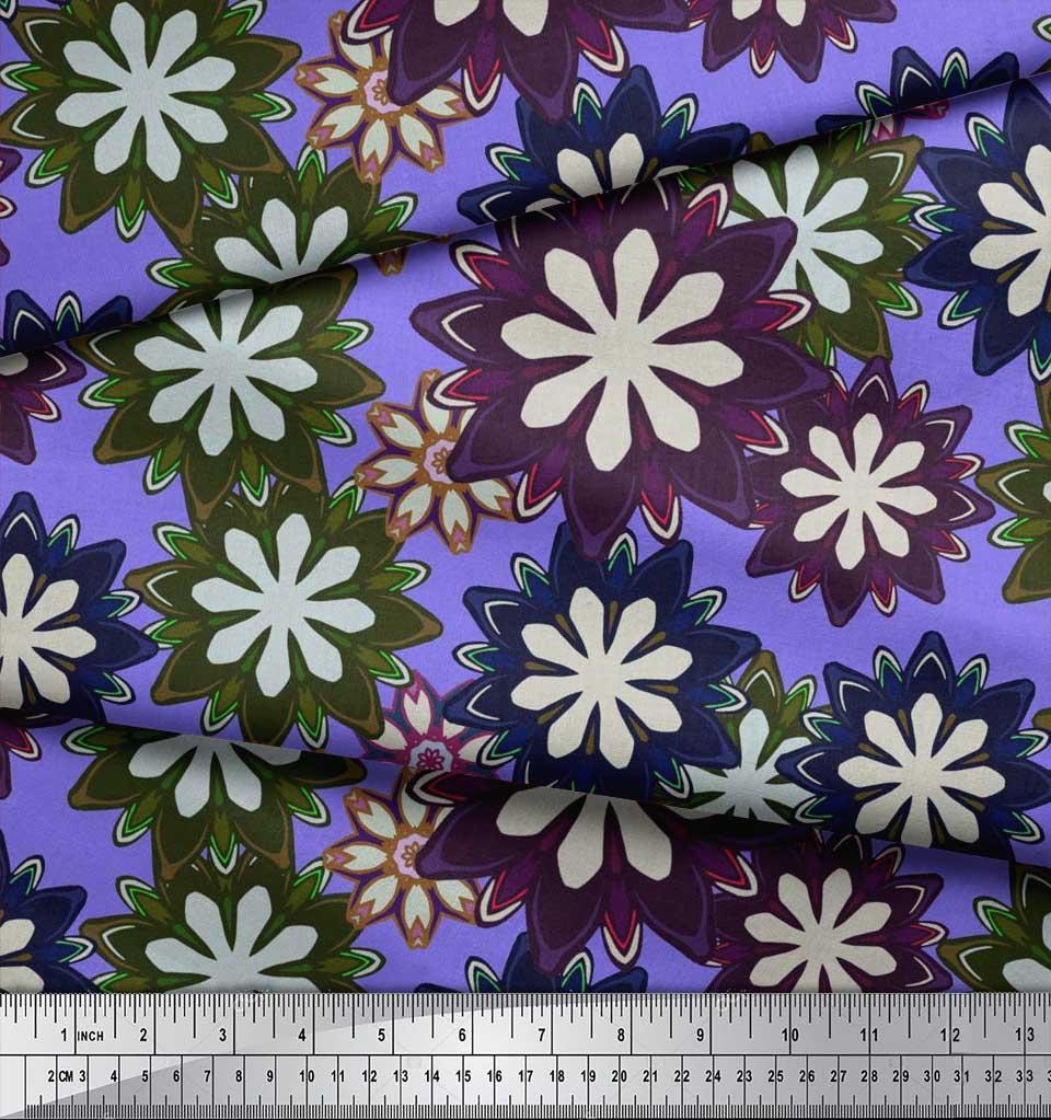 Soimoi-Purple-Cotton-Poplin-Fabric-Artistic-Floral-Print-Fabric-oX5 thumbnail 4