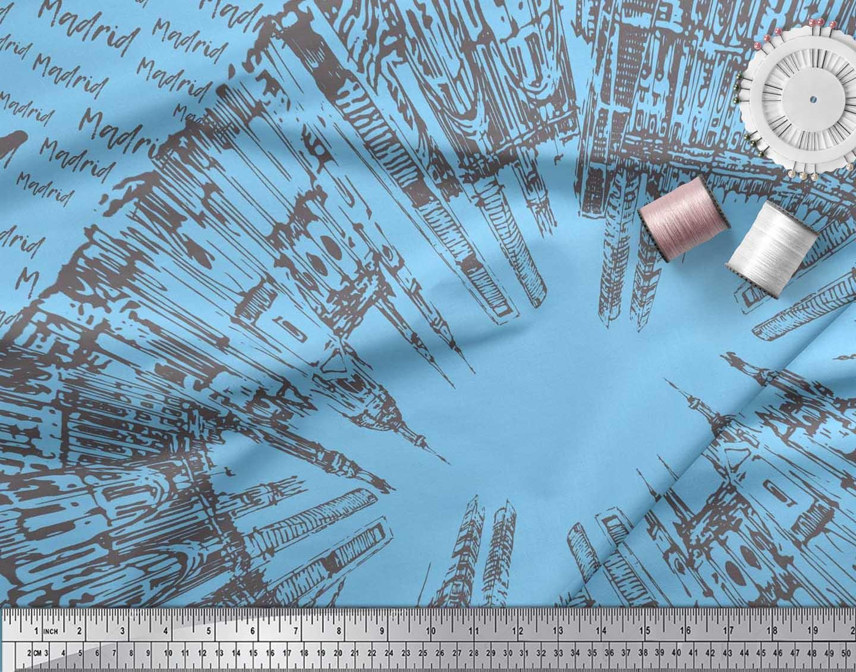 Soimoi-Blue-Cotton-Poplin-Fabric-Text-amp-Monuments-Architectural-1Ki thumbnail 4