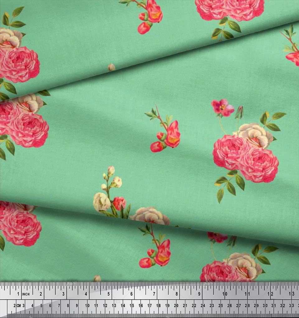 Soimoi-Cotton-Poplin-Fabric-Leaves-amp-Begonia-Floral-Print-Fabric-Jmz thumbnail 4