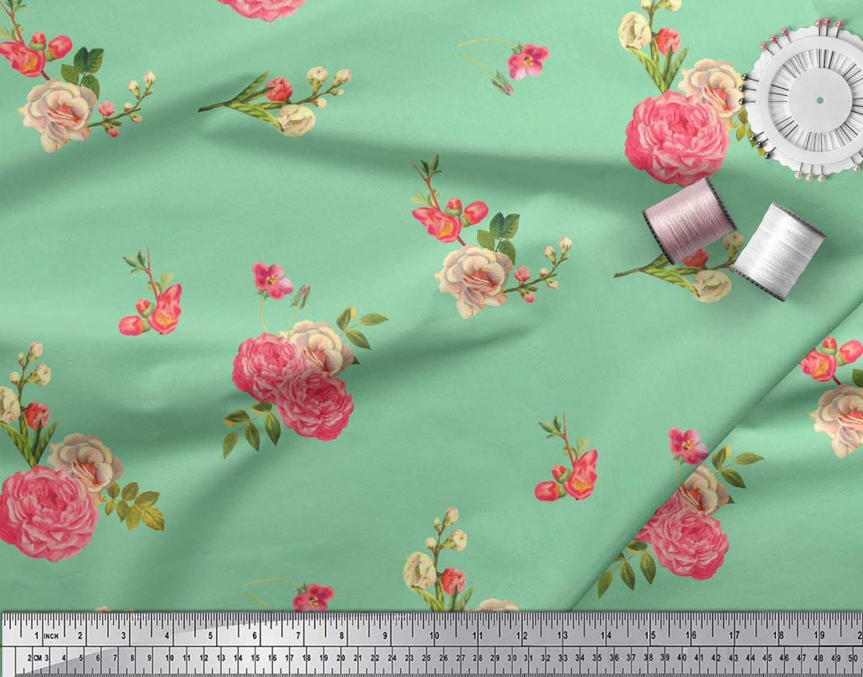 Soimoi-Cotton-Poplin-Fabric-Leaves-amp-Begonia-Floral-Print-Fabric-Jmz thumbnail 3
