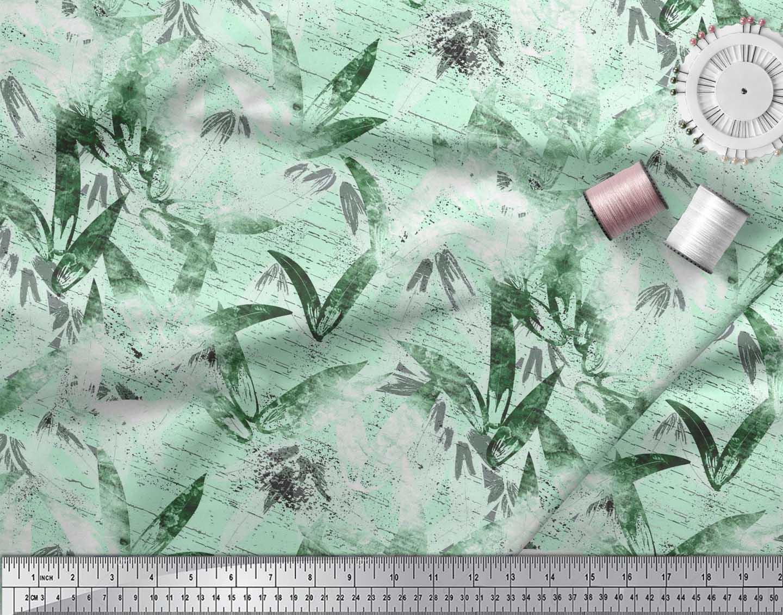 Soimoi-Cotton-Poplin-Fabric-Leaves-Watercolor-Fabric-Prints-By-metre-klJ thumbnail 3