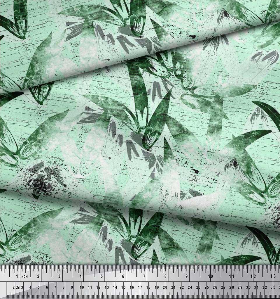 Soimoi-Cotton-Poplin-Fabric-Leaves-Watercolor-Fabric-Prints-By-metre-klJ thumbnail 4