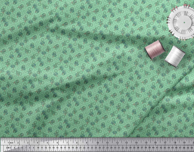 Soimoi-Cotton-Poplin-Fabric-Flower-Watercolor-Print-Fabric-by-the-Ovl thumbnail 3