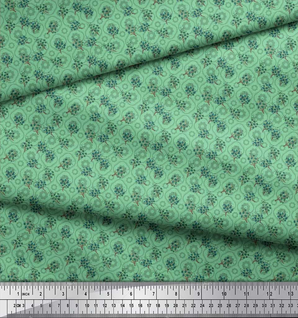Soimoi-Cotton-Poplin-Fabric-Flower-Watercolor-Print-Fabric-by-the-Ovl thumbnail 4