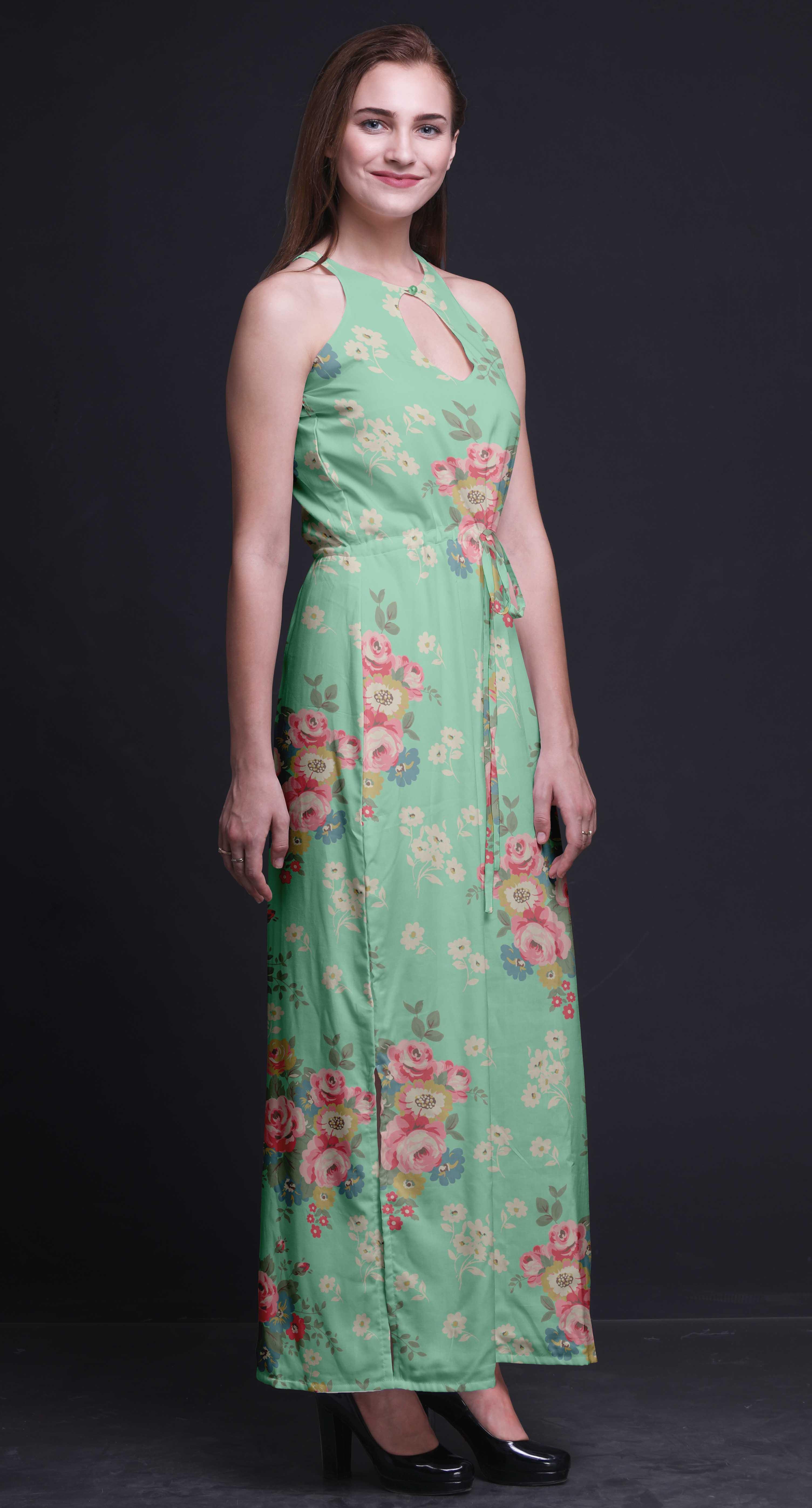 32421c4aea Bimba Block Women Side Slits Long Casual Halter Maxi Dress Party ...