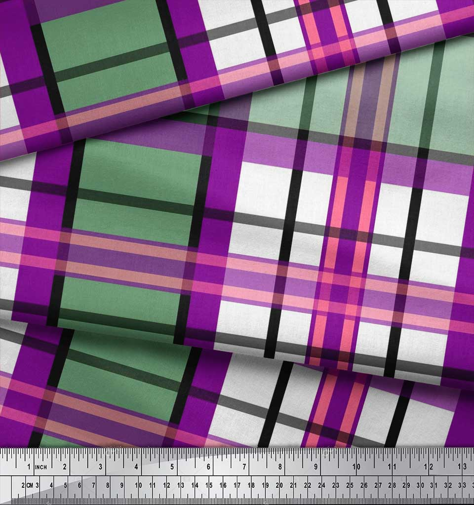 Soimoi-Purple-Cotton-Poplin-Fabric-Gingham-Check-Print-Sewing-Fabric-7PU thumbnail 3