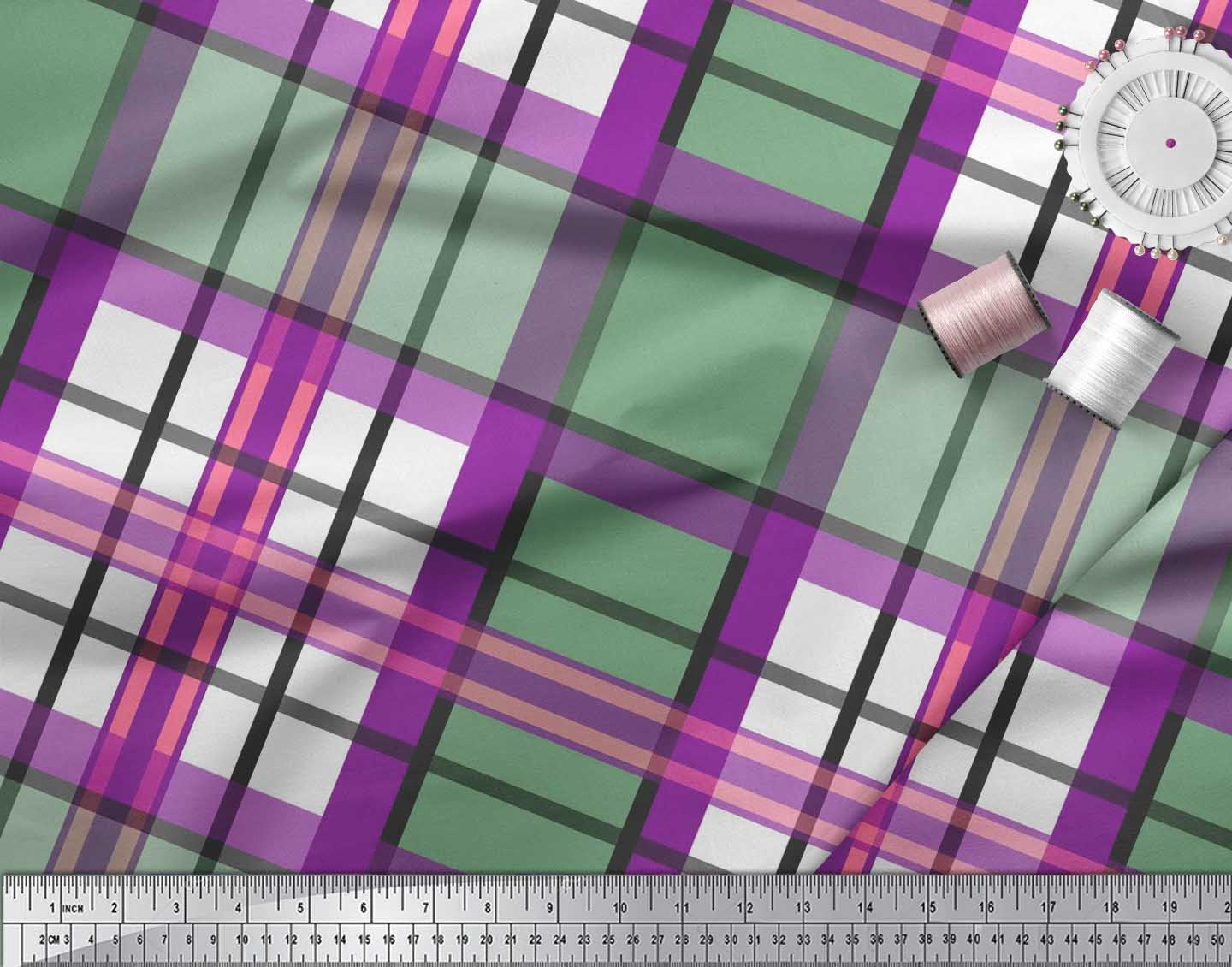 Soimoi-Purple-Cotton-Poplin-Fabric-Gingham-Check-Print-Sewing-Fabric-7PU thumbnail 4