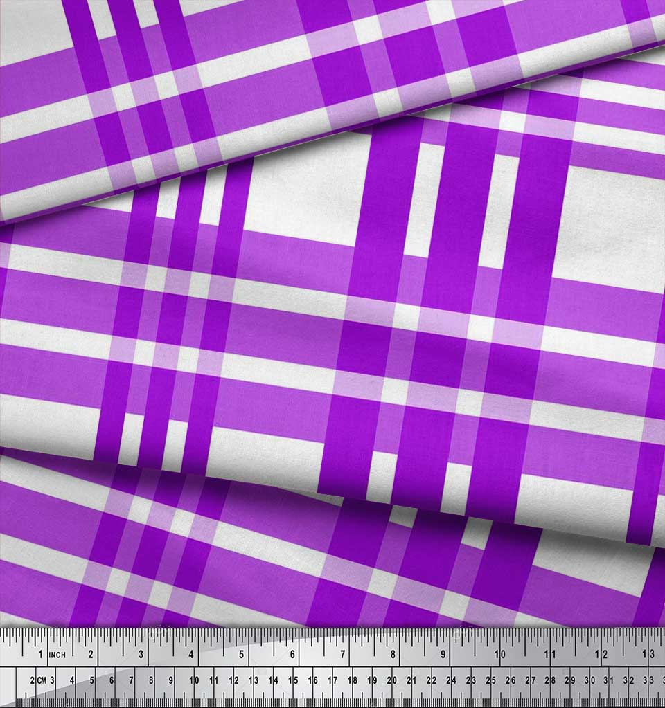 Soimoi-Purple-Cotton-Poplin-Fabric-Plaid-Check-Print-Fabric-by-the-bGc thumbnail 3