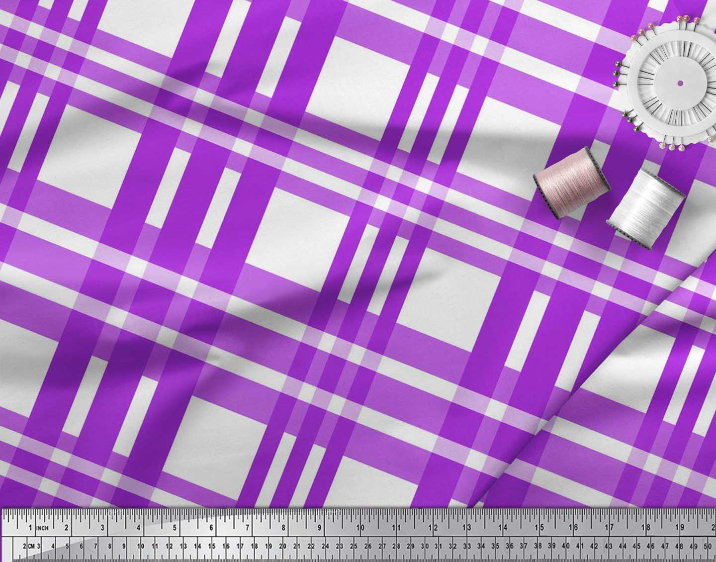 Soimoi-Purple-Cotton-Poplin-Fabric-Plaid-Check-Print-Fabric-by-the-bGc thumbnail 4
