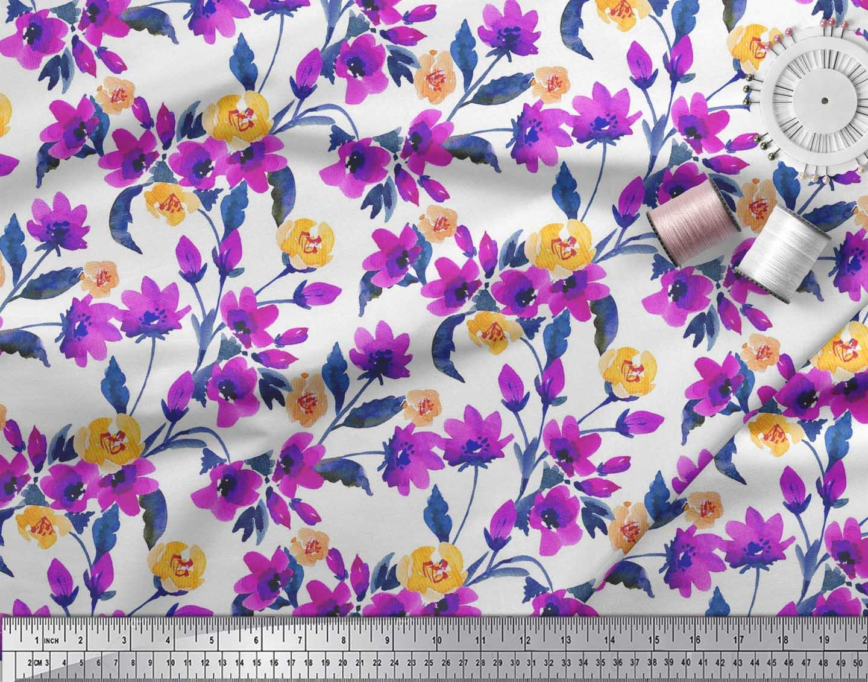 Soimoi-Cotton-Poplin-Fabric-Flower-amp-Leaves-Watercolor-Print-Sewing-iEN thumbnail 3