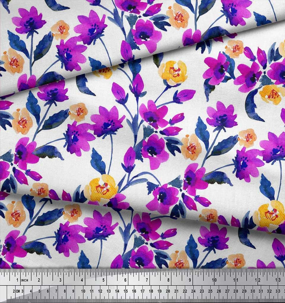 Soimoi-Cotton-Poplin-Fabric-Flower-amp-Leaves-Watercolor-Print-Sewing-iEN thumbnail 4
