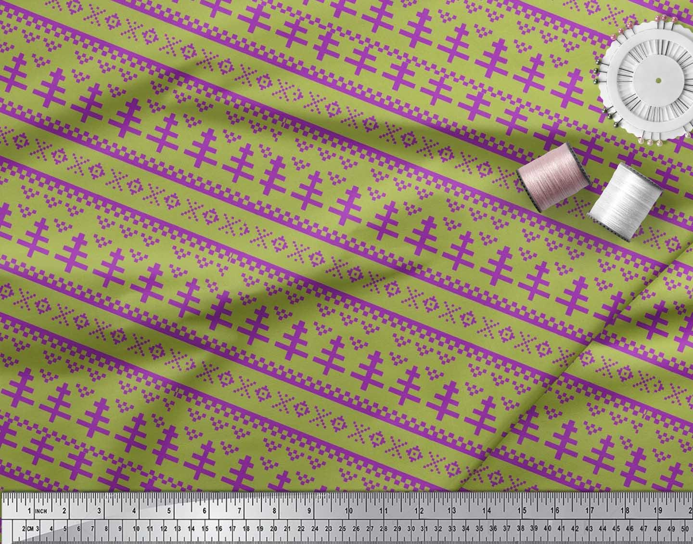 Soimoi-Cotton-Poplin-Fabric-Aztec-Geometric-Printed-Fabric-1-metre-DlZ thumbnail 4