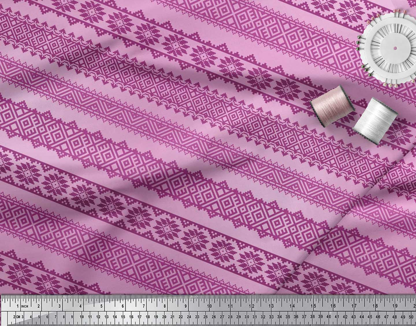 Soimoi-Cotton-Poplin-Fabric-Aztec-Geometric-Printed-Craft-Fabric-JWe thumbnail 4