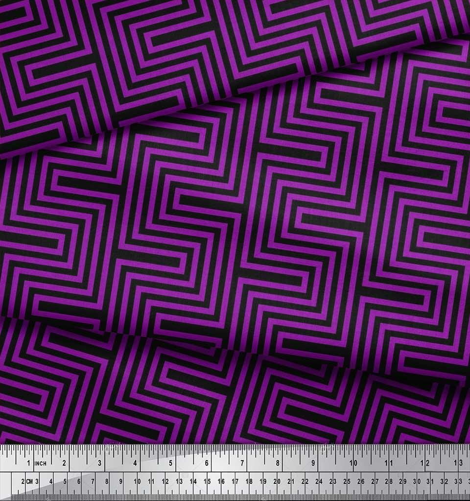 Soimoi-Cotton-Poplin-Fabric-Square-amp-Spiral-Geometric-Print-Fabric-tAu thumbnail 3