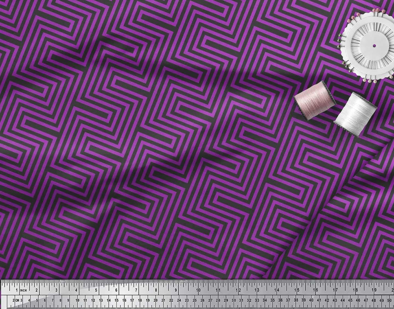 Soimoi-Cotton-Poplin-Fabric-Square-amp-Spiral-Geometric-Print-Fabric-tAu thumbnail 4