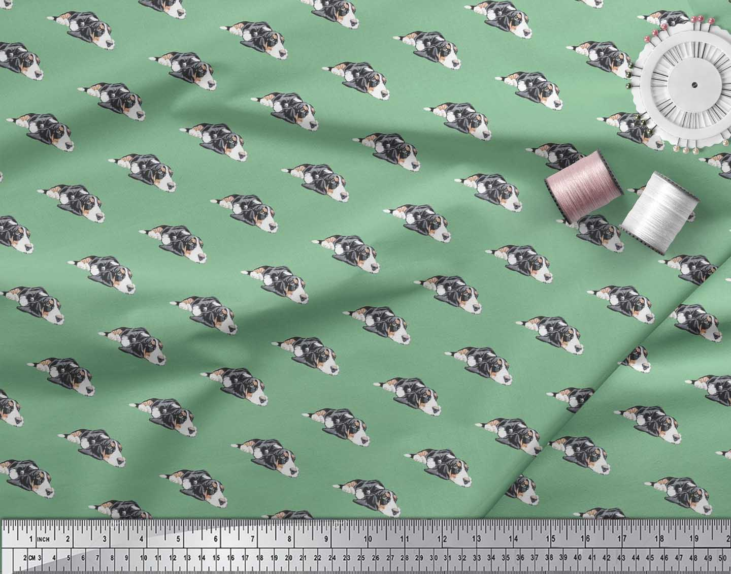 Soimoi-Green-Cotton-Poplin-Fabric-Basset-Hound-Dog-Fabric-Prints-5tW thumbnail 4
