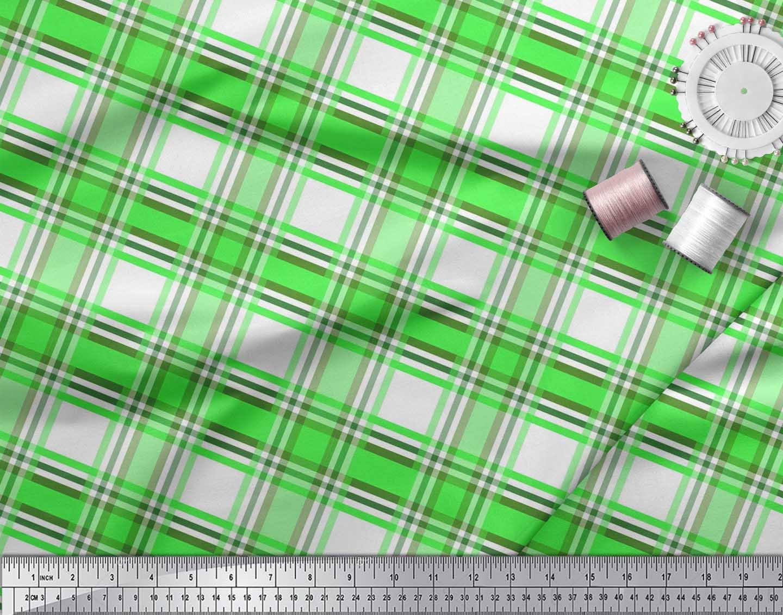 Soimoi-Green-Cotton-Poplin-Fabric-Gingham-Check-Print-Fabric-by-gzl thumbnail 3