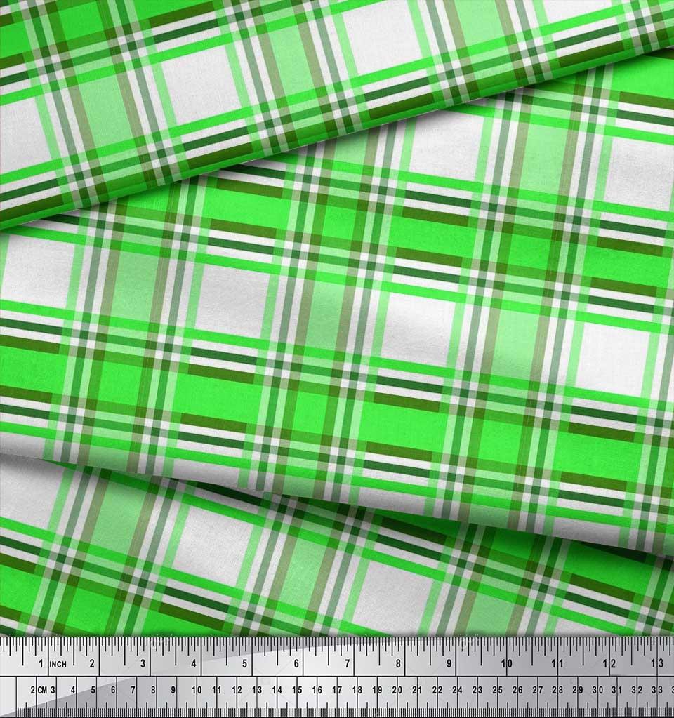 Soimoi-Green-Cotton-Poplin-Fabric-Gingham-Check-Print-Fabric-by-gzl thumbnail 4