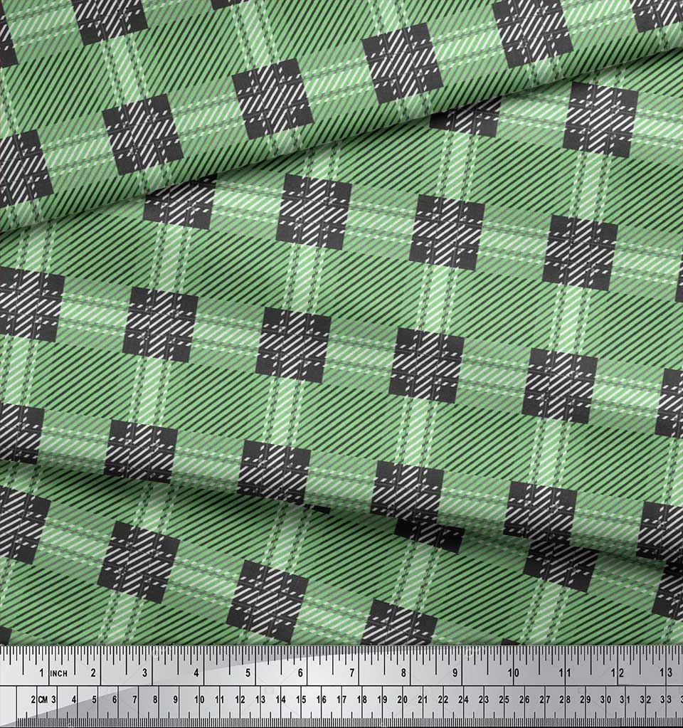 Soimoi-Cotton-Poplin-Fabric-Gingham-Check-Print-Fabric-by-metre-jA2 thumbnail 3