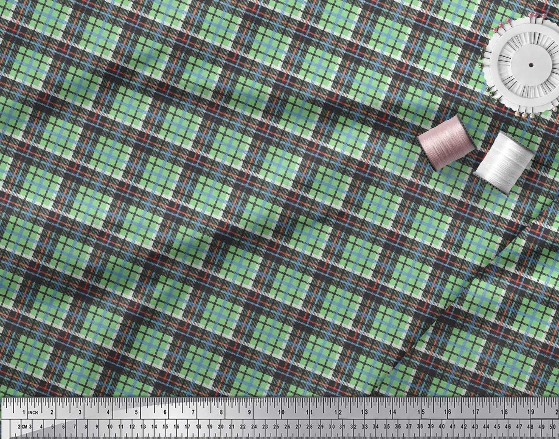 Soimoi-Cotton-Poplin-Fabric-Plaid-Check-Print-Sewing-Fabric-metre-ziH thumbnail 3